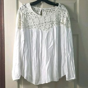 Old Navy lace shoulder white blouse top